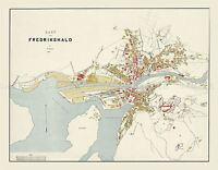 MAP ANTIQUE 1905 KRUM FREDRIKSHALD HALDEN NORWAY REPLICA POSTER PRINT PAM0423