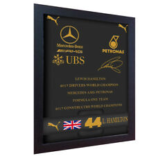 Lewis Hamilton completo da pilota Nero oro firmato stampato su tela 100% COTONE incorniciato