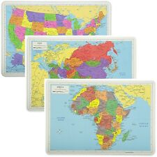Painless Learning Educational Placemats Sets USA Africa and Asia Maps Non Slip