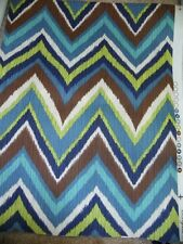 "Blue Green Brown Chevron Fabric Zig Zag Home Decorator Interior 1 yard x 54"" New"