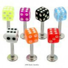 25 14g Dice Labrets/Monroes Lip Rings WHOLESALE Lot BO