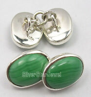 """Mother's Day Offers 925 Solid Silver Genuine GREEN MALACHITE Cufflinks 0.6"""" NEW"""