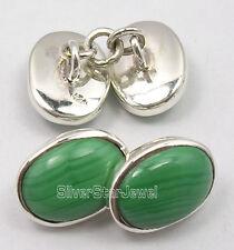"925 Solid Silver Genuine GREEN MALACHITE HANDCRAFTED Cufflinks 0.6"" NEW GIFT"