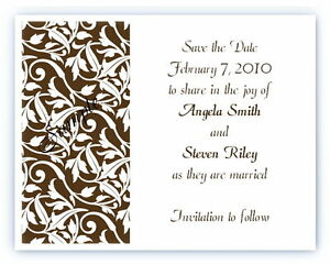 100 Personalized Custom Damask Brown Bridal Wedding Save The Date Cards