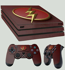 PS4 Pro Skin Flash Logo 01 Superhero Lightning New Sticker + 2 X Pad decal Vinyl
