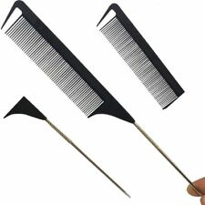 Fashion Black Fine-tooth Comb Metal Pin Hair Style Rat Anti-static Tail Comb