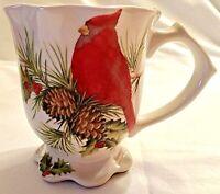 Cracker Barrel Christmas Mug Bird Cardinal Coffee Cup Holiday Garden Scalloped