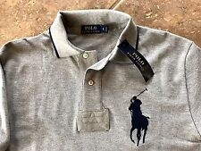 Polo Ralph Lauren Polo Mesh Polo Shirt Mens L Gray Heather Navy Big Pony $98 NWT