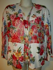 CAROLE LITTLE Floral Dot 2in1 JACKET TOP 8 ROSES STUNNING Patchwork