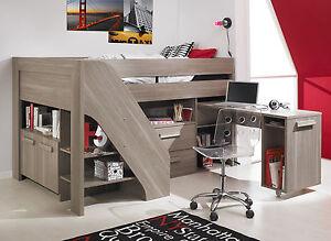 Gami Hangun Grey Cabin Bed High Compact Sleeper Desk Storage matching Furniture
