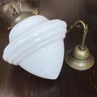 Deckenlampe Hängelampe Weiß Jugendstil Glas-Messing  Bauhaus Pendelleuchte Antik