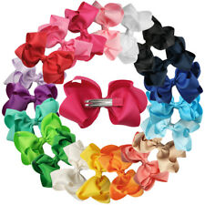 """5pcs 4"""" Double Layers Grosgrain Ribbon Bows Clips for Baby Girls Hair Accessory"""