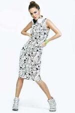 "NWOT BOOHOO FIT ""Ellen Splatter"" Sleeveless Bodycon Hoody Dress Size XS 4/6"