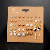 20 Pairs/set Hot Women Fashion Cute Ear Stud Pearl Bowknot Earrings Jewelry Gift