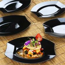 """10/pk  Black 7.5"""" Crescent Oval Shaped Disposable Plastic Plate  Cater"""