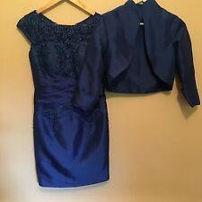 Satin & Lace Dress & Jacket (Stunning Royal Blue) Size 8 DROP IN PRICE