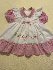 Vintage Cradle Togs Infant Pinafore Dress Pink White Embroidery Girl EUC