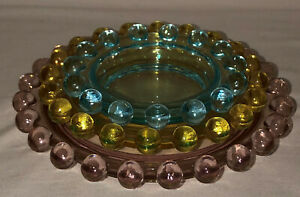 Imperial CANDLEWICK * PINK*BLUE*YELLOW *3 PC NESTED ROUND ASHTRAY SET*400/550*#2