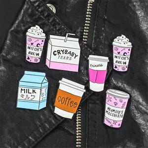 Clothes Jewelry Clothes Lapel Pin Cartoon Brooch Badge Milk Tea Enamel Pins