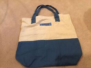 Martha Stewart Living Small Tote Canvas Blue White Reusable Shopping Book Bag