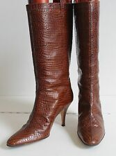 HOLLYWOULD Croc Chestnut Brown Heeled Wide Calf Boots Size US 9 UK 6.5