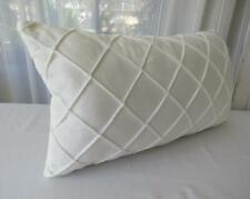 White Softest Velvet Diamond Pleated Rectangle Lounge Bed Cushion Cover 30x50cm