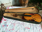ANTIQUE 19THC. VIOLIN& BOW CURLY MAPLE WITH WOOD COFFIN CASE