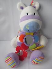 Plush Mothercare white zebra rattle rattle soft toy with mirror teething ring