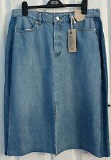 M&S Medium Blue Pure Cotton Denim Midi PANEL Skirt UK 16 / EUR 44