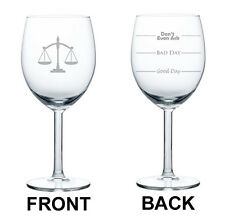 Wine Glass Goblet 10oz 2 Sided Lawyer Law Attorney Scales Of Justice Paralegal