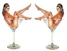 2X Sexy Pin Up Girl en un Martini Vidrio Pegatina DE VINILO COCHE DECAL UK Post sólo
