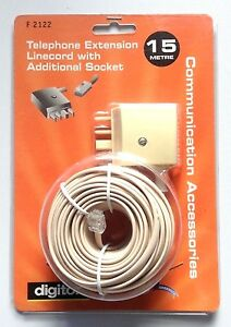 Digitor Telephone Extension Linecord with Additional socket F2122 - 15 meter NEW
