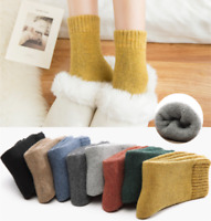 Womens 95% Wool Cashmere Fleece Thicken Thermal Soft Solid Winter Socks