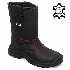 MENS LEATHER WATERPROOF RIGGER SAFETY STEEL TOE CAP WORK FUR LINING BOOTS SZ