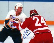 FIGHTER! Todd EWEN SIGNED vs. Bob PROBERT Red WINGS BLUES Custom LAB 8X10 GREAT!