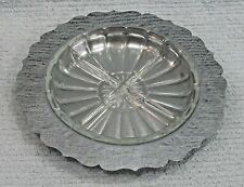 "Vintage round 10"" dia chrome heavy clear glass old divided serving tray FREE S/H"