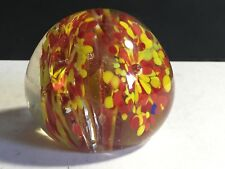 MURANO STUDIO YELLOW & RED ABSTRACT FLECK FLOWER SPRAY ART GLASS PAPERWEIGHT