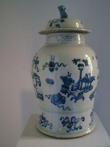 Große China Porzellan-Deckelvase Balustervase 45 cm 19. Jahrhundert blau/weiß