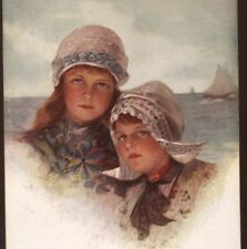 "NEAR MINT..PHILIP BOILEAU DUTCH CHILDREN,""PEBBLES ON THE BEACH"" VINTAGE POSTCARD"