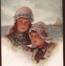 """NEAR MINT..PHILIP BOILEAU DUTCH CHILDREN,""""PEBBLES ON THE BEACH"""" VINTAGE POSTCARD"""