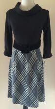 Ellen Tracy NEW Black Gray Plaid Size 4 Belted Turtleneck Dress $148