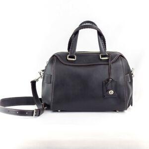 COACH Black Glovetanned Leather Ace Satchel Crossbody #37017