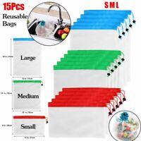 15X Reusable Produce Bags Mesh Vegetable Fruit Toys Storage Eco Friendly Pouch