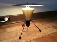 MID CENTURY JET AGE RETRO TV SAUCER ROCKET GOLD ANODISED TRIPOD LAMP