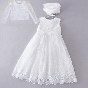 Baby Girls White Lace Christening Dress Gown Bonnet Bolero 0 3 6 9 12 18 Months