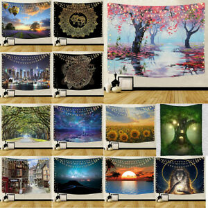 Tapestry Nature Landscape Art Polyester Fabric Tree Wall Hanging Beach Blanket