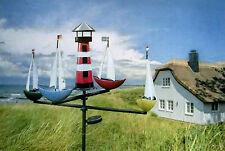 XL Windspiel Schiffskarussell Regatta mit Solar groß dekorativ Metall 2280jw