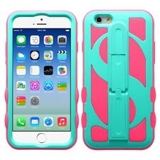 for APPLE iPhone 6 / 6S   (4.7 inch) TEAL GREEN PINK MONEY STAND SKIN COVER CASE