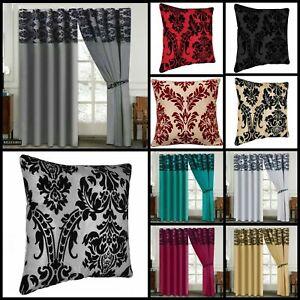 Eyelet Ringtop Flock Damask Curtains Inc 2 Tie Backs 66x72 90x90 / Cushion Cover