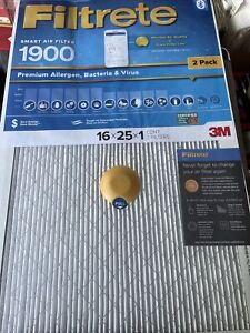 3M Filtrete 1900 Smart Air Filter 16x25x1 Bacteria and Virus Germs AC (2 pack)